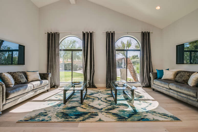 Spacious family room with double TV's