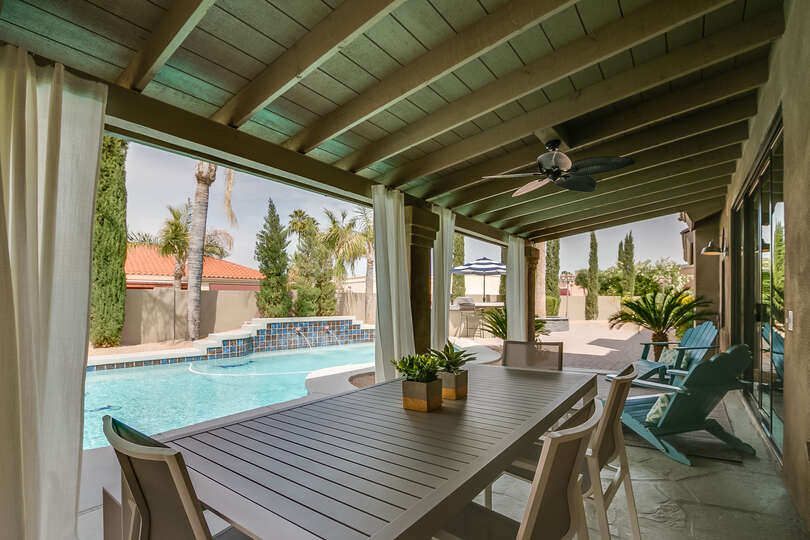 Beautiful backyard with a large heated pool and built in hot tub