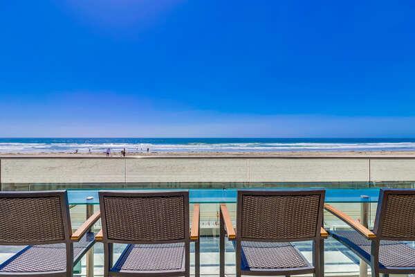 Outdoor patio overlooking Oceanfront Walk