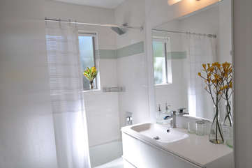 The bathroom features a bathtub/shower and beautiful designer fixtures.
