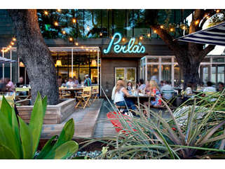 The beautiful patio at Perla's on South Congress.