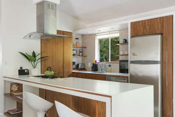 In the kitchen: Stainless Appliances, Dishes, and Cookware