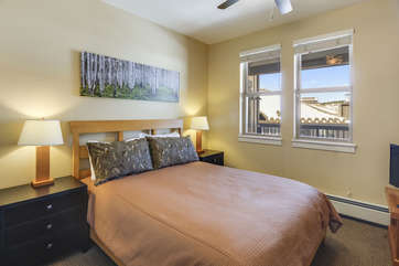 Guest Bedroom with Queen Mattress and ceiling fan