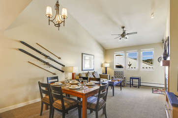 6-Chair Dining Table and View of Spacious Living Room
