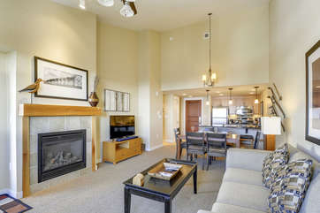 Living Room with Fireplace and 55