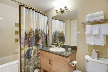 Guest Full Bath with Granite Counter tops, linens provided