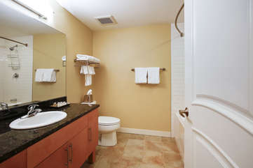 Shower and Tub in Guest full Bathroom, Complimentary Organic Body Wash and Shampoo Provided