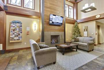 Fantastic 2 story lobby with gas fireplace