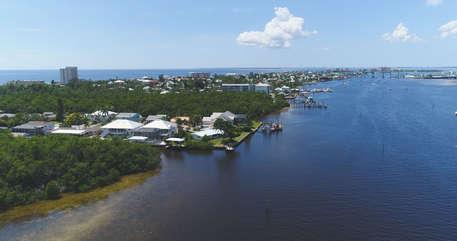 Aerial view of the waterways