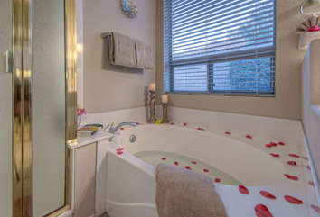 Soak away the desert sand and soothe tired muscles in master suite's garden tub