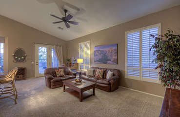 Open floor plan is spacious yet cozy for a family or couples