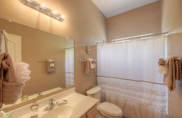 Guest bathroom features tub/shower combination