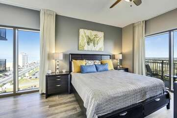 Subtle, elegant, and bright master bedroom with king size bed