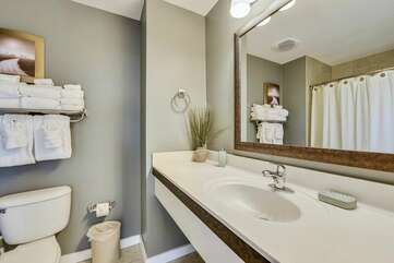 Refreshing bathroom vanity with lots of counter space