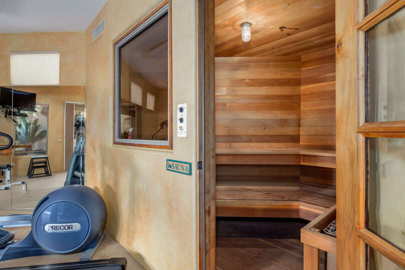 Heat up after a long workout in the built-in sauna.