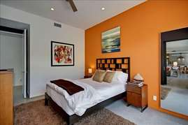(Orange accent wall has been painted white.)