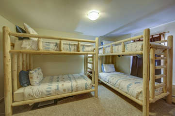 Lower Level Bedroom with 2 sets of Bunks