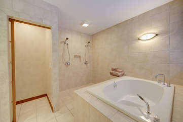 Main Level Master Bath with double shower and soaking tub