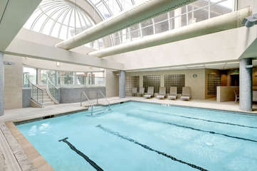 Indoor pool and hot tub with adjoining saunas, workout facility and locker rooms!