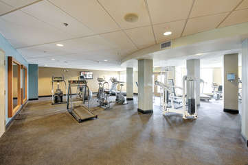 Only a small area of workout facility near indoor pool, saunas and locker rooms!