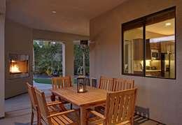Fireplace dinning backyard