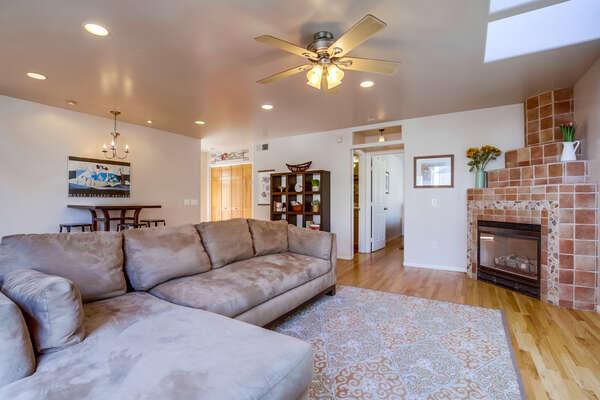 2nd Floor: open concept living room, fireplace