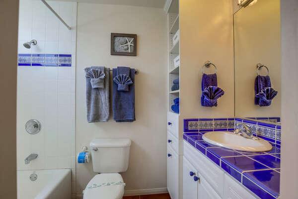full bathroom, shower/tub combo