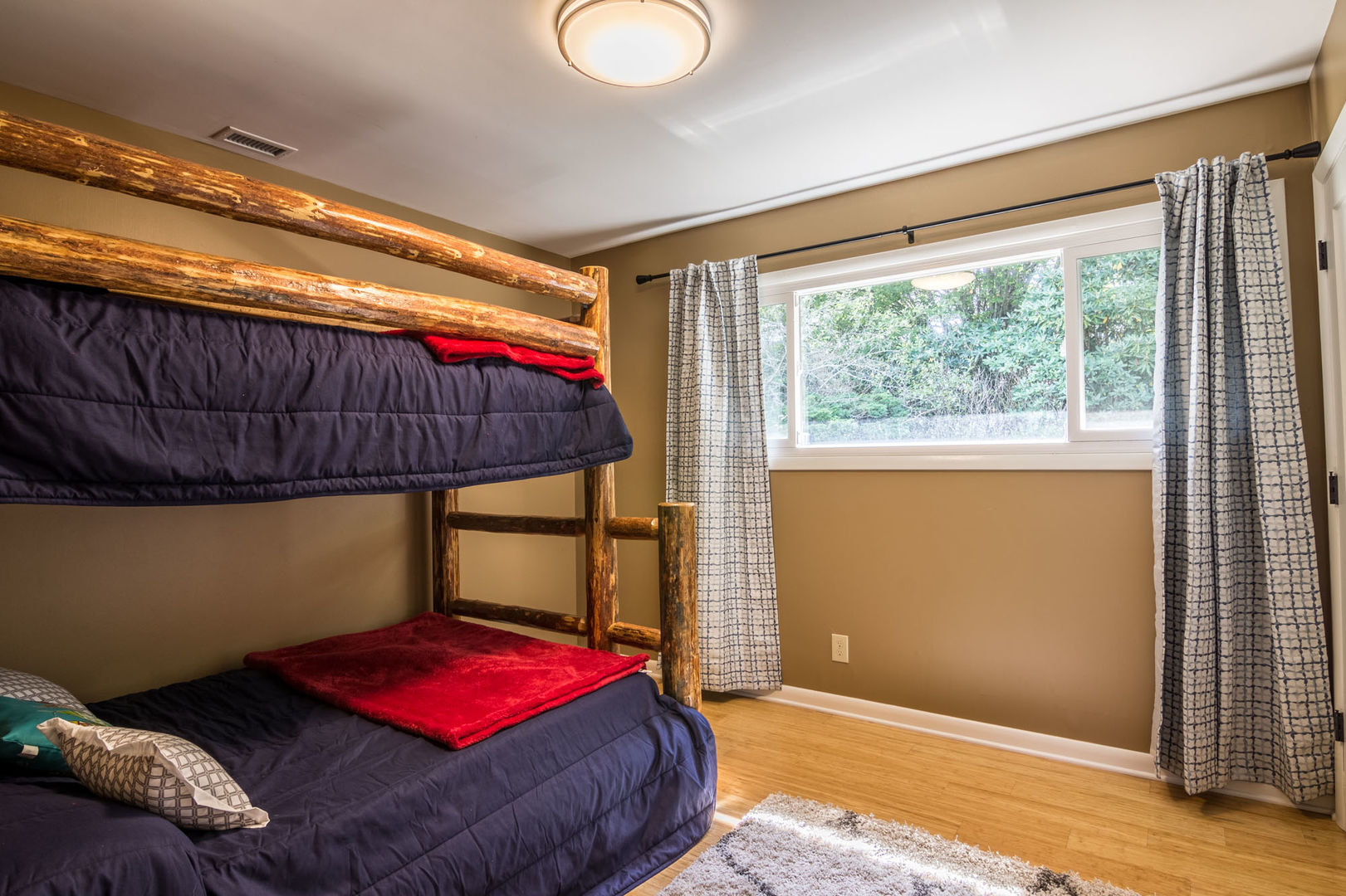 Bedroom with twin over full bunk