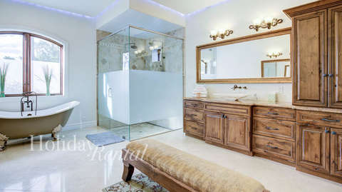 Luxurious Master Bath with walk in shower and stand alone tub