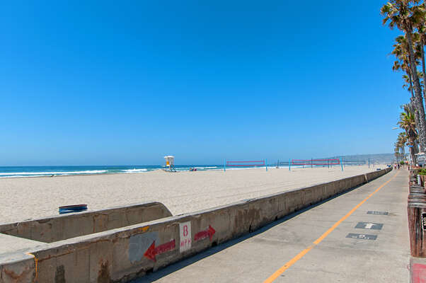 South Mission Beach boardwalk with beach volleyball nearby