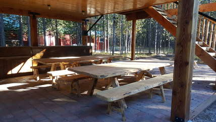 Outdoor seating and grill area