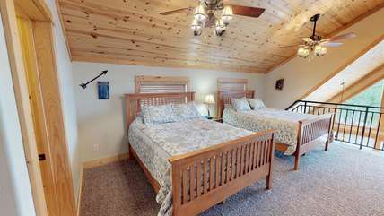 More beds located in the loft upstairs. The fans are also great for hot summer nights to keep you nice and cool.