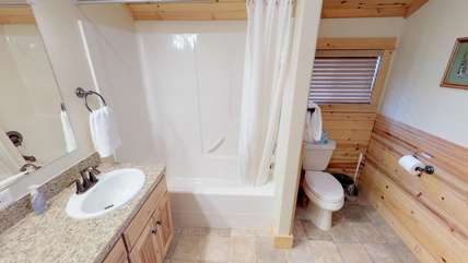 This clean bathroom is a great place to get ready for your big day in the park.