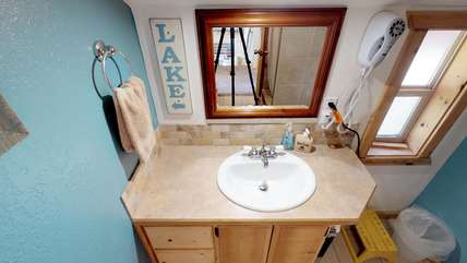 Bathroom located upstairs.