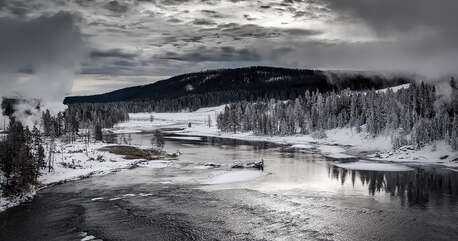 Beautiful winter landscape in Yellowstone National Park.