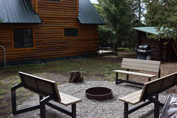 Side yard with fire pit