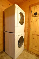 Stackable washer and dryer in the bathroom