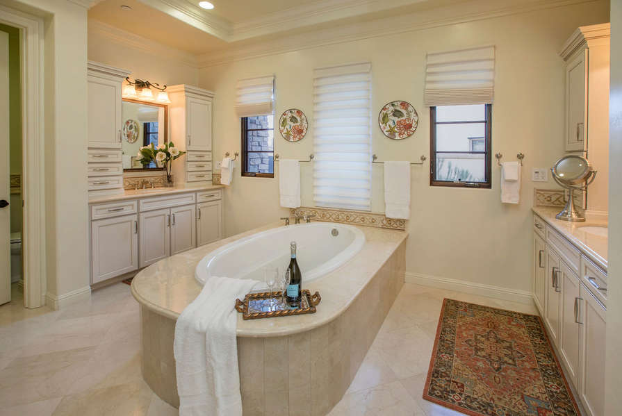 Master Bathroom has soaking tub for your relaxation needs