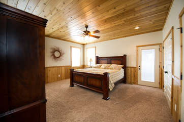 The master bedroom on the main level of Bishop Mountain Lodge.