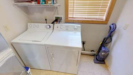 Washer and dryer available for those messy days