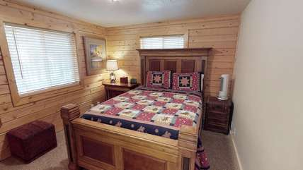 A queen bed is located on the main level.