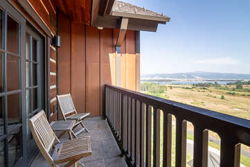 Balcony with seating and View of Lake