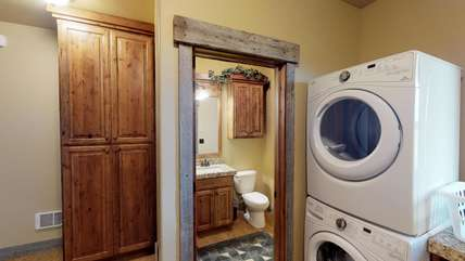 Located on the main level is a half bath.