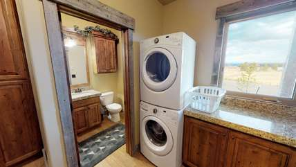 A washer and dryer are available for you to use while staying at Blue Creek.