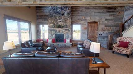 A gorgeous living room with rustic features.
