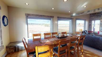 Plenty of seating allows you family to have dinner together.