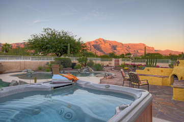 Hot tub with mountain views offers a romantic escape