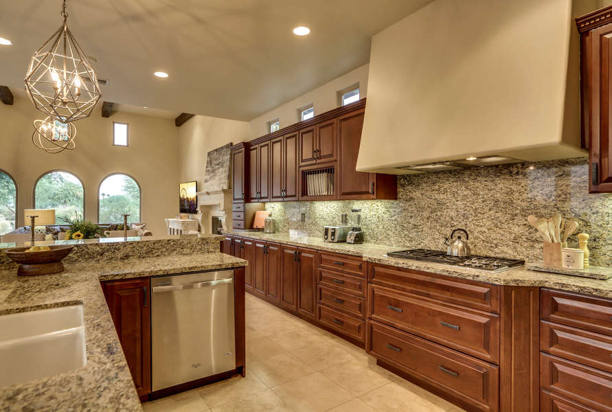 Chefs kitchen with stainless steel appliances