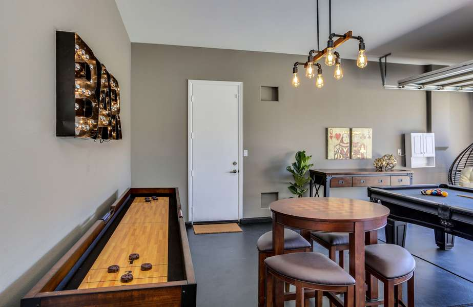 Shuffle board and game tables