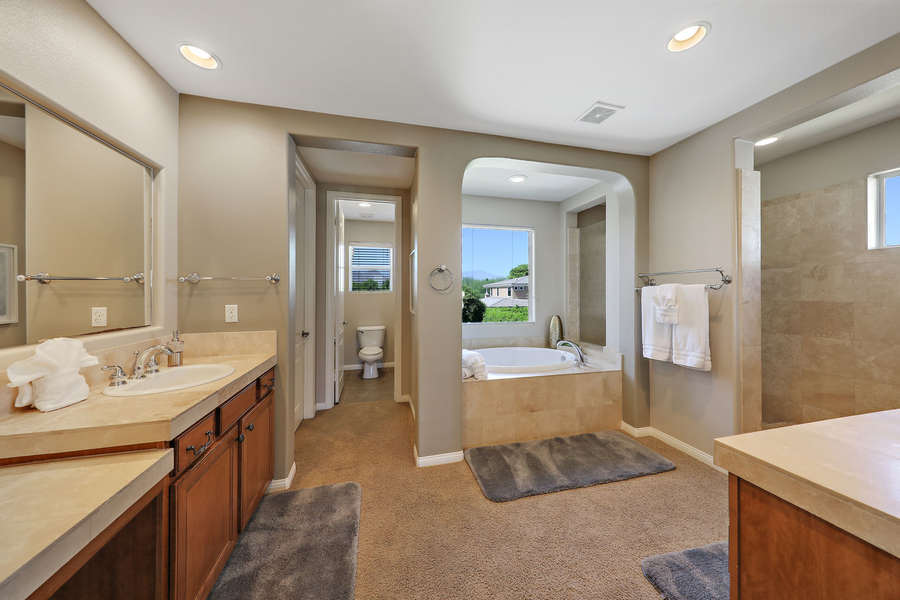 Master en suite bath with jetted tub, walk in shower, double vanities and large walk in closet